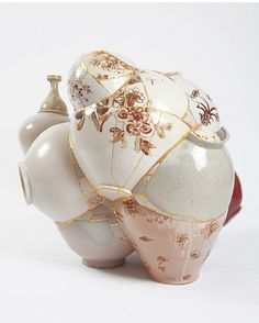"Yee Sookyung, from the series ""Translated Vase,"" patched recycled porcelain with gold leaf on the seams"