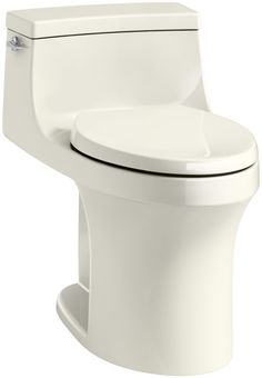 KOHLER San Souci White WaterSense Compact Elongated Comfort Height Toilet Rough-In Size at Lowe's. The San Souci one-piece toilet offers a sleek, contemporary design with a convenient chair-like height and elongated bowl for comfortable use. This toilet Floor Outlets, Wax Ring, Minimal Bathroom, Lowes Home, Chair Height, Thing 1, Toilet Bowl, Profile Design, Clean Design