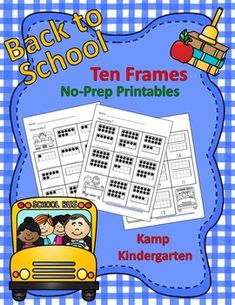 Just print and go with Back to School Ten Frames No-Prep Printables.   $ #backtoschool #tenframes #kampkindergarten #numerals #numbers  https://www.teacherspayteachers.com/Product/Back-to-School-Ten-Frames-No-Prep-Printables-Quantities-to-20-1964310