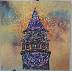 Galata kulesi akrilik tablom ,mandala,zentangle,galata kulesi,akrilik,tuval,70x70,art,painting