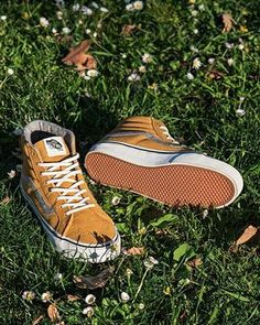 Golden Hour: The Vintage Suede Sk8-Hi Slim in Amber Gold.