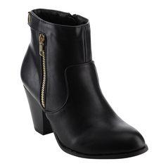 Nature Breeze Women's FE41 Faux Button Dual-zip Stacked Block Heel Ankle Booties