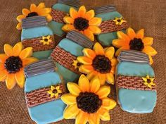 Rustic Burlap Mason Jars and Sunflower Sugar Cookies Large Party Favors