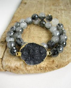 Black Druzy Bracelet Drusy Tourmaline Quartz by julianneblumlo, $88.00