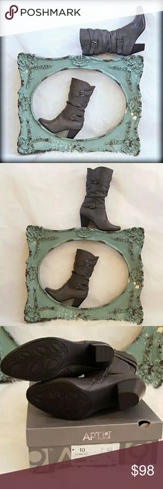 """NIB 10 Heel Mid Calf Claiborne Apt 9 Buckle Boots Chic and comfortable gray heeled boots. A great addition to any outfit. Brand new in box! These are from Liz Claibornes Apt 9 line. Inside zipper. Approx. 3 Inch heel , 10"""" shaft. They end about 5"""" below my knee . Tag on box.  Gorgeous buckle detailing. Comfort and style in one! Apt. 9 Shoes Heeled Boots"""