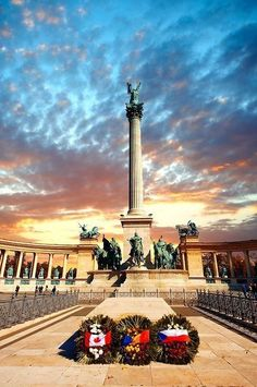 Get a close-up look at the Heroes Square in Budapest, Hungary.