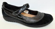 NAOT 'Kirei' Black Suede & Leather Mary Jane Flat Size 38/US 7 #Naot #MaryJanes