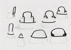 Il s'agit de représentation de différentes chaises de différentes formes.  Si je veux marquer les contours important d'un objet ou montrer la fonction du dossier. Les codes : feutre fin noir et feutre épais noir dessin très simple. Chair Design, Furniture Design, Logos Retro, Adobe Illustrator, Architecture Graphics, Sketch Design, Design Process, Designs To Draw, Industrial Design