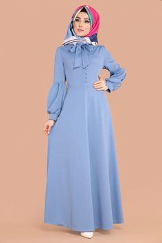 ELBİSE Fularlı Tesettür Elbise MDP5086 Bebe Mavi