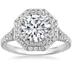 0.80 Platinum Octagenol Double Halo Diamond Engagement Ring Semi Mount #TrueDiamondJewelry #SolitairewithAccents