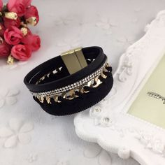 Danze Fashion Women Leather Bracelet With Magnetic Clasp Multilayer Chain Wide Rhinestone Female Jewelry Accessories For Couples #Affiliate