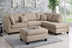 3 pc Ivy bronx vita martinique sand polyfiber fabric sectional sofa reversible chaise and ottoman. This set includes the 2 pc reversible chaise sectional sofa throw pillows and ottoman. This sectional is in polyfiber faux linen material on the cushions an 3 Piece Sectional Sofa, Leather Sectional Sofas, Fabric Sectional, Sofa Couch, Modern Sectional, Chaise Sofa, Sofa Set, Beige Sectional, Small Sectional