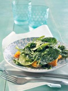 Sweetcorn, baby spinach and Parmesan