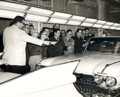 GM factory tour presentation of the 1959 Cadillacs to foreign military officers