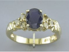 '1.86CT Genuine Diamond and Sapphire Pure 14K Gold Ring' is going up for auction at  9am Tue, Oct 30 with a starting bid of $1.