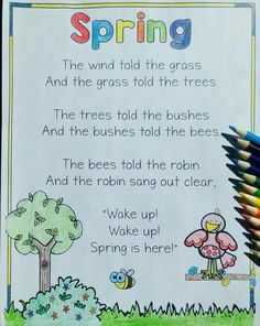 It's that wonderful time of year when the days start getting longer and we begin to emerge from our cozy winter hideouts. Preschool Spring Songs, Spring Poems For Kids, Preschool Poems, April Preschool, Spring Words, Poetry For Kids, Kids Poems, Spring Activities, Preschool Classroom