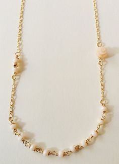 Delicate short Necklace, Minimalist Short Ivory Necklace, Bridal Jewelry, Gold Filled Chain Necklace, Necklace, Bead Necklace, Romantic #handmadeholiday #christmasgifts