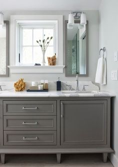 Gray bathroom vanity