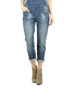Look at this H&G Jeans Medium Blue Roll-Cuff Overalls on #zulily today!