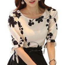 Femmes Chemise D'été Tops Floral Noir Blanc Brodé En Mousseline de Soie Blouses plus la Taille Arc Moitié Manches Chemise Femmes Vêtements S-XXXL(China (Mainland))