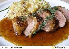 Kachní prsa v limetovo - citronové marinádě recept - TopRecepty.cz Pork, Meat, Chicken, Recipes, Life, Lemon, Pork Roulade, Pigs, Recipies