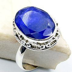 'Seductive Blue' Sterling Silver Blue Sillimanite Ring, Size 8.25