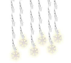 60-Count Pure White Snowflake LED Icicle Lights