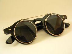 ROUND FlipUp WAYFARER CLUBMASTER Sunglasses Black
