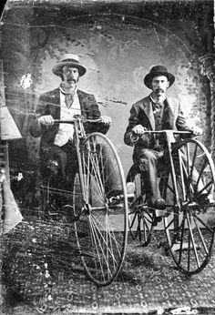 Two men on high wheel boneshaker bicycles Penny Farthing Vintage black and white tintype Velo Vintage, Vintage Cycles, Vintage Bikes, Vintage Black, Old Bicycle, Old Bikes, Old Photos, Vintage Photos, Mongoose Mountain Bike