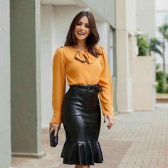 ec56392120 Pencil Skirt Work, Pencil Skirts, Black Leather Skirts, Leather Fashion,  Latex,
