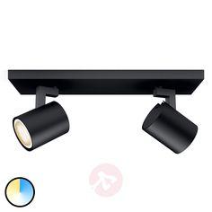 Philips Hue Runner 2er Spot schwarz Dimmschalter   Lampenwelt.at Luminaire Led, Lampe Led, Led Lamp, Magenta, Spot Noir, Led Spots, Philips Hue, Spot Led, Black