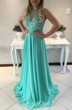 Green Chiffon Prom Dresses Long A-line Sleeveless Evening Dresses Appliques Formal  Gowns Sexy Party Pageant Dresses For Teens Girls 2212e07c50f0