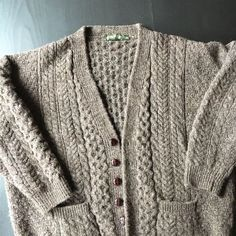 652f3705cdf8 Orvis XL 100% Wool Cable Knit Cardigan Sweater Made In Ireland