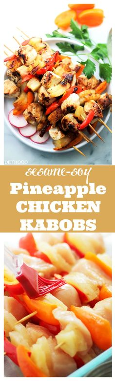 Sesame Soy Pineapple Chicken Kabobs – The sweet and tart sesame-soy marinade is the perfect accompaniment to these incredibly delicious pineapple and chicken kabobs!