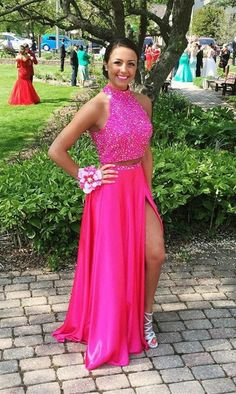 Two Pieces Prom Dress with Side Slit,Beading Prom Dress,Long Formal Party