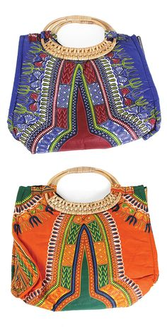 Traditional Print Wicker Handle Purse - This beautiful handbag is covered in traditional African pattern and colors.  Each purse is decorated with the traditional patterns of Africa and they come in many colors including red, orange, blue, black, and green.  Click to see all of the color options.  Celebrate African culture and history with these traditional African print purses.  #purse #handbag #pattern #african #africa #fashion #africanfashion #africanstyle #style #womensstyle…