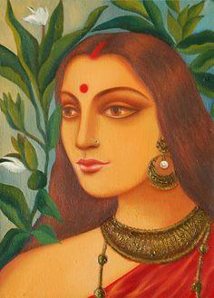 Bengali Bride IV - Oil Paintings by Suparna Dey
