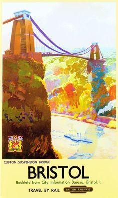 ENGLAND - Gloucestershire - Bristol Clifton Bridge Vintage British Railways Poster