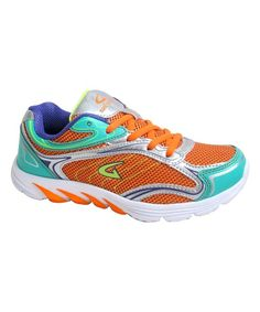 c37ca50580 Orange   Neon Blue Line Running Shoe - Women Orange Shoes