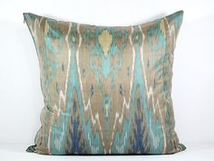 Turquoise teal teal ikat Turquoise ikat pillow brown by SilkWay, $24.69