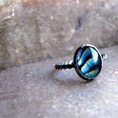 Rustic Blue Paua Twist Ring