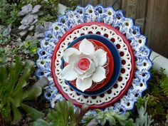 Patriotic Plate Flowers # 478 Drought Resistant.      Garden Yard Art glass and ceramic plate flower.