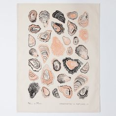 Inspired by the bounty of the Pacific Northwest's sea, these tea towels are sure to be the pearl of your kitchen or table. Details: Hand printed with apricot and charcoal water based ink, hemmed on 4 Charcoal Water, Textiles, Textile Prints, Modern Boho, Hostess Gifts, Tea Towels, Screen Printing, Artsy, Illustrations