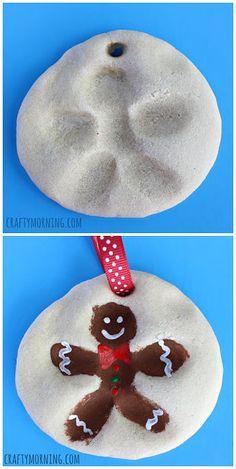 Fingerprint Gingerbread Man Salt Dough Ornament #Christmas craft for kids | CraftyMorning.com