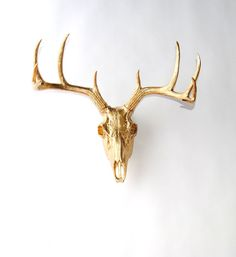 White Faux Taxidermy - The Deer Skull in Gold - Gold Resin Deer Skull Head- White Faux Taxidermy- Western Decor Stag Skull Fauxidermy on Etsy, €60.20