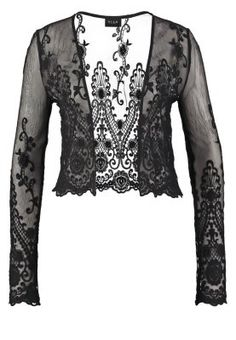 black cardigan with crochet lace details <3