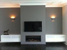 gás - Interior style -Lareira a gás - Interior style -a gás - Interior style -Lareira a gás - Interior style - Tv Over Fireplace, Modern Fireplace, Fireplace Wall, Fireplace Design, Living Room With Fireplace, New Living Room, Home And Living, Room Deco, Muebles Living