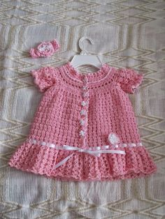 Crochet Baby Dress Pattern, Baby Girl Dress Patterns, Baby Girl Crochet, Baby Patterns, Crochet Baby Sweaters, Crochet Shirt, Crochet Baby Clothes, Knitting Socks, Baby Knitting