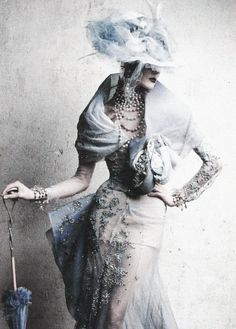 Stella Tennant wears Christian Dior Haute Couture S/S 2005 in the editorial 'Inspiration Dior' shot by Patrick Demarchelier f...