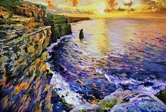 Cliffs Of Moher At Sunset Painting by Conor McGuire